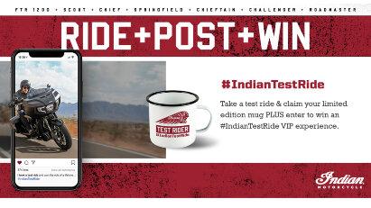 Indian Motorcycle-Testfahrt-Wettbewerb angekündigt - Fahren, Posten, Gewinnen