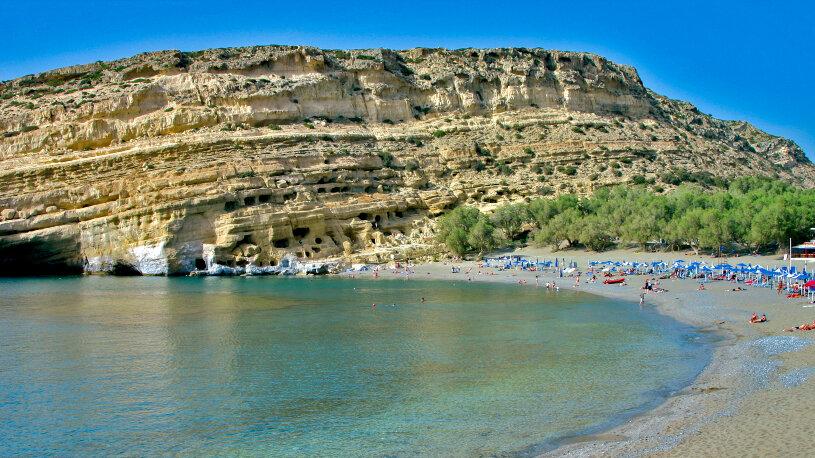 Wundervoll: Die Bucht vom Matala am Libyschen Meer.
