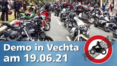 Gegen Fahrverbote: Motorraddemo in Vechta am 19. Juni 2021
