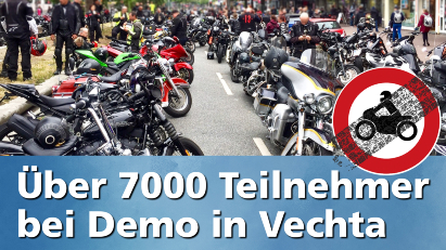 Über 7.000 Motorradfahrer demonstrieren in Vechta