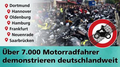 Über 7.000 Motorradfahrer demonstrieren deutschlandweit