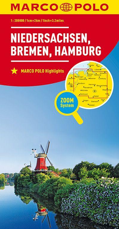 MARCO POLO Karte Deutschland Blatt 3 Niedersachsen, Bremen, Hamburg 1:200 000