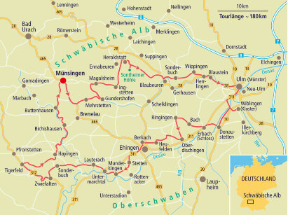 Karte Schwäbische Alb - Kurvig vorbei am Juragestein