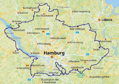 Karte Rund um Hamburg