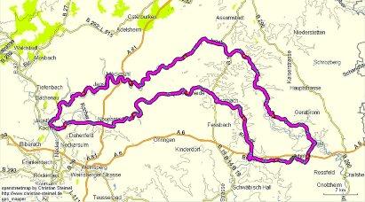 Karte Jagst & Kocher - Unterwegs auf drei Rädern