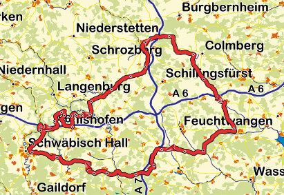 Karte Romantiktour Ilshofen