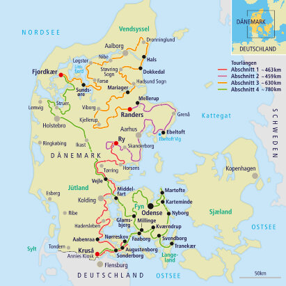 Karte Dänemarks längste Touristenattraktion - Margeritenroute