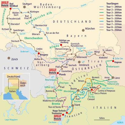 Karte Auf ins Hochgebirge Alpentour